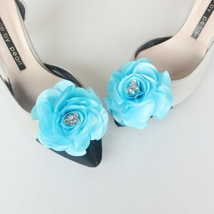 Detachable Babyblue Bridal Shoe Cli..