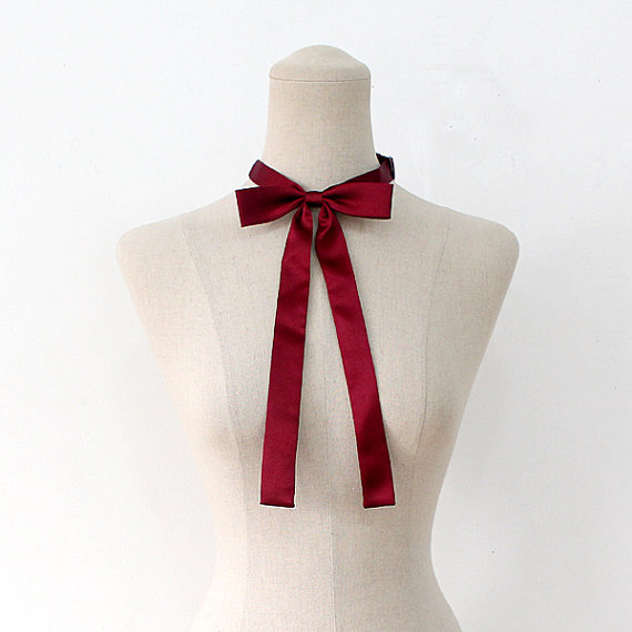 FREE SHIPPING,Wine ribbon tie,Wine neck tie for woman,wedding,Wine,Ribbontie,Skiny ribbon tie