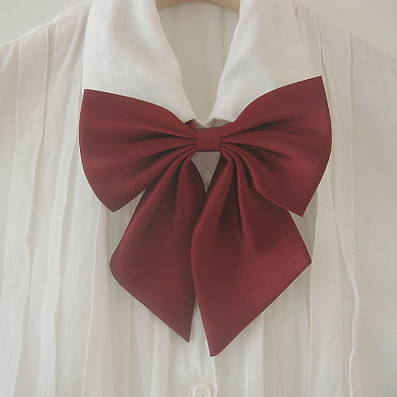 FREE SHIPPING,Wine big ribbon tie,Wine neck tie for woman,wedding,Big ribbon,Ribbontie