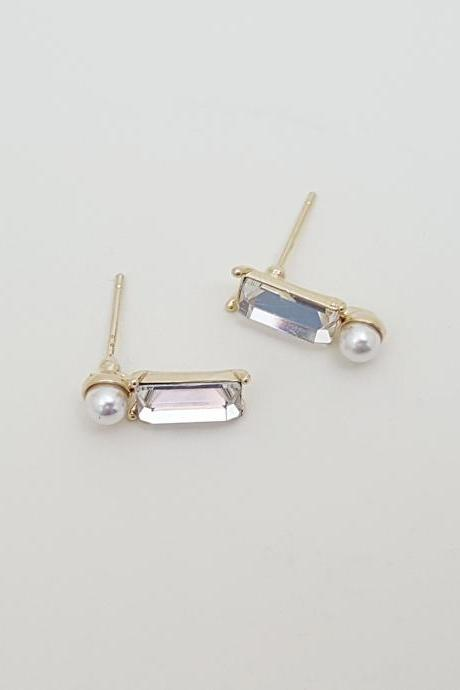 Rectangle whiteCubic Zirconia pearl Earrings,pearl Stud Earrings, Special Occasion Jewelry,Bridal Stud Earrings