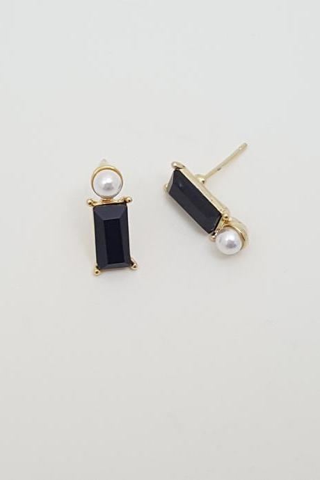 Rectangle black Cubic Zirconia pearl Earrings,pearl Stud Earrings, Special Occasion Jewelry,Bridal Stud Earrings