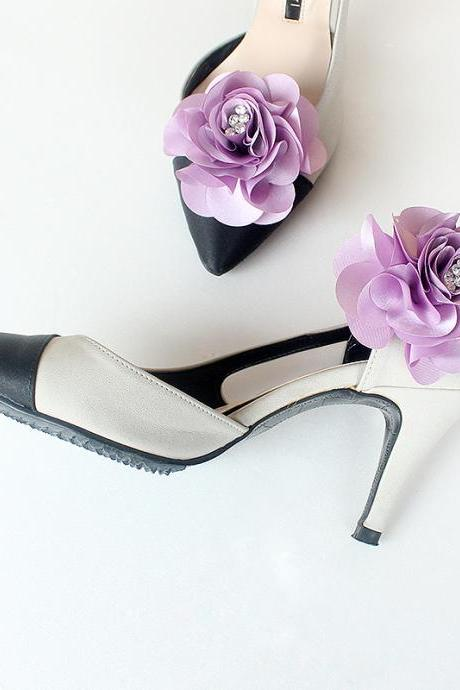 Detachable light purple Bridal Shoe Clips,Shoe Clips, light purple,Wedding Clips, Bridal Shoe Accessories,wedding shoes corsage,Ultraviolet