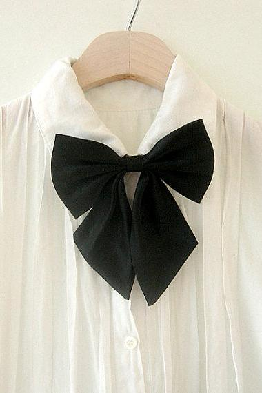 FREE SHIPPING,Black big ribbon tie,Black neck tie for woman,wedding,Big ribbon,Ribbontie,Black