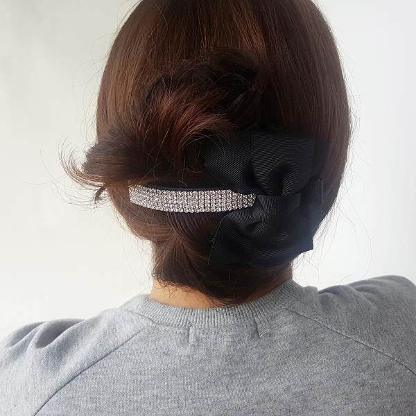Black Big ribbon silver banana hairpin